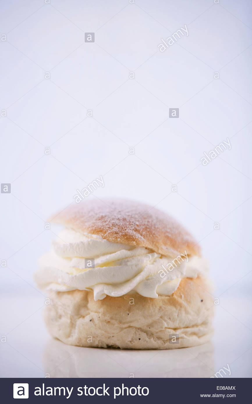 Fresh bun isolated on white background - Stock Image