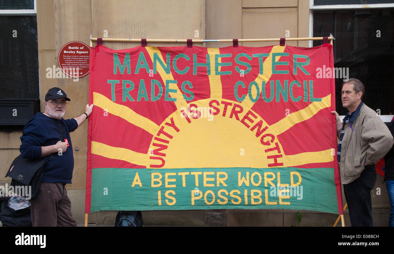 Manchester, UK  26th March, 2014.  Manchester Trades Council  teachers Day of Action. 'Unity is Strength' with hundreds of teachers across the North West out on strike on Wednesday. over pay, pension cuts and working conditions. Teachers have been holding a number of rallies across the North West as part of their industrial action. - Stock Image