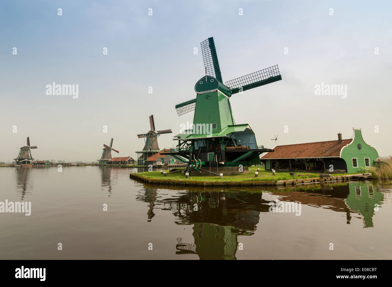 FOUR DUTCH WINDMILLS AND THE CANAL AT ZAANSE SCHANS NETHERLANDS IN SPRINGTIME - Stock Image