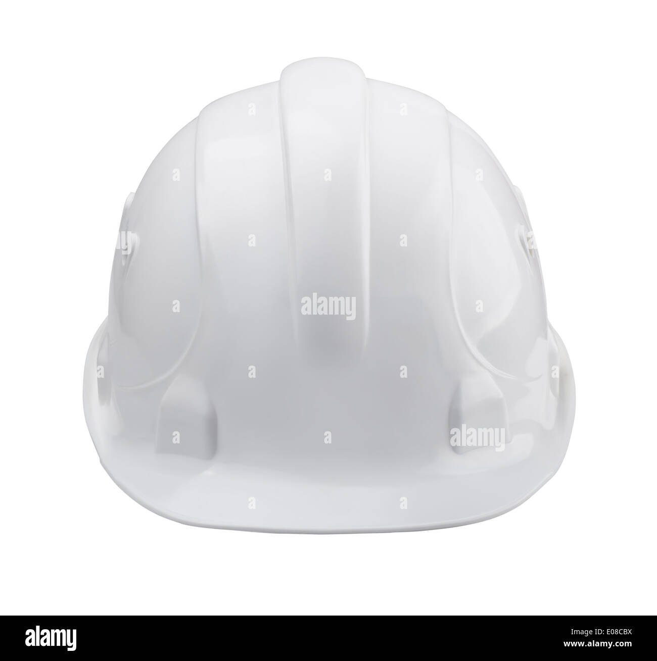 White hard hat - front view isolated on white - Stock Image