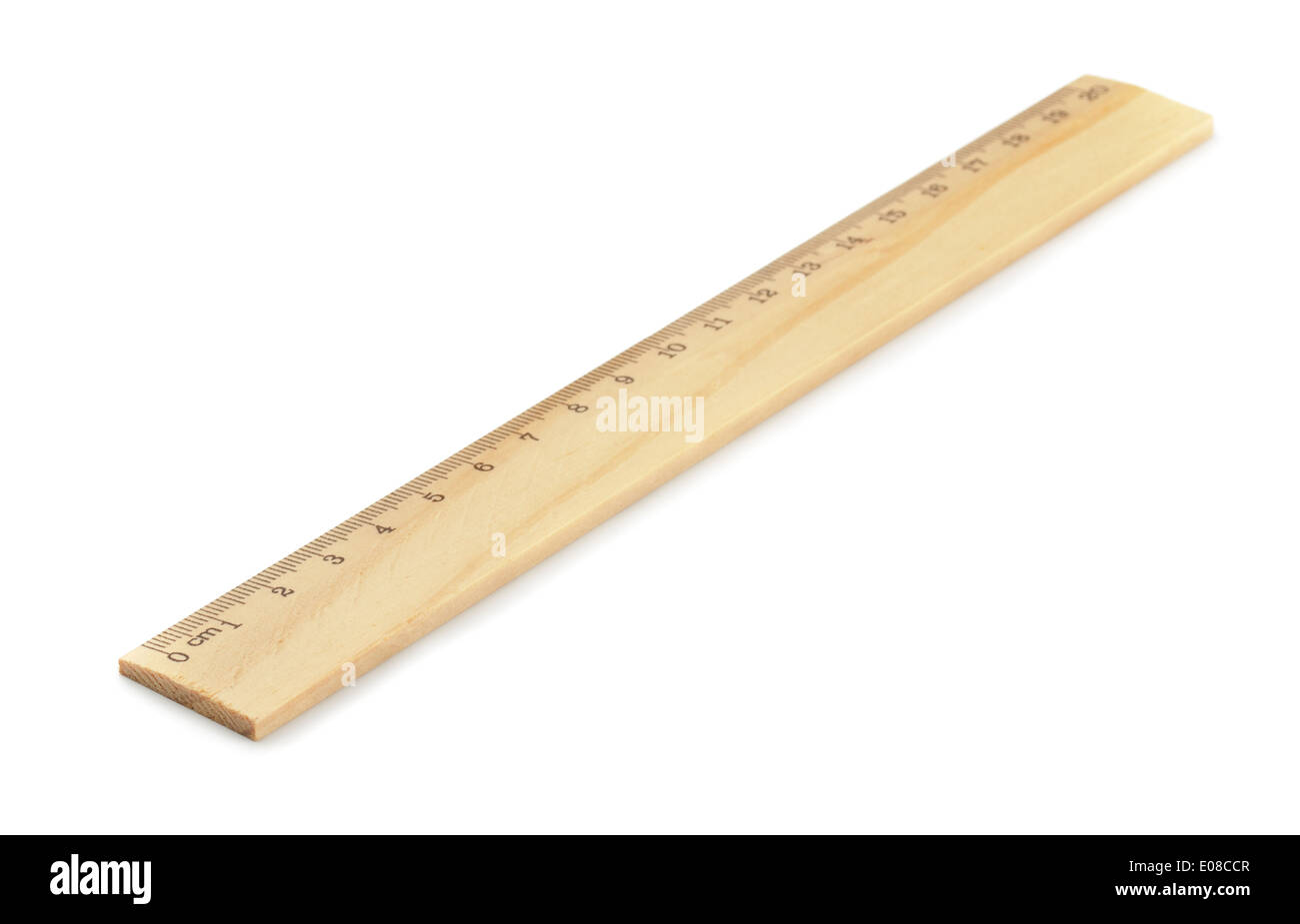 Wooden ruler isolated on white - Stock Image