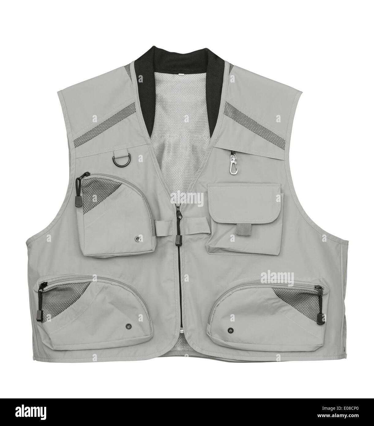 Fly fishing vest isolated on white - Stock Image