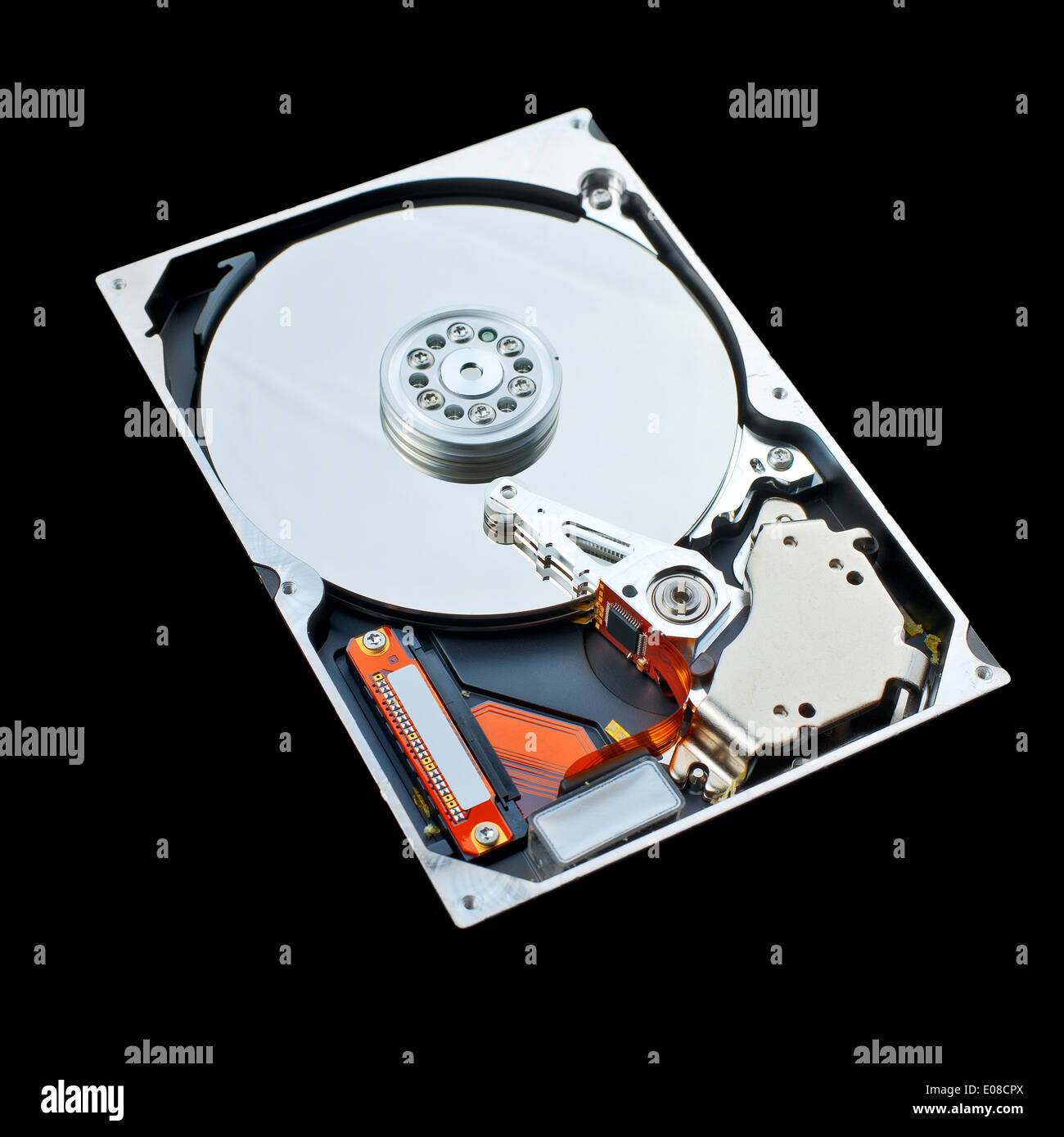 Computer hard disk isolated on black background. Computer hardware, data storage and protection concept. - Stock Image