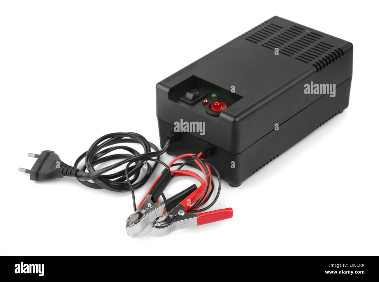 Car battery charger isolated on white - Stock Image