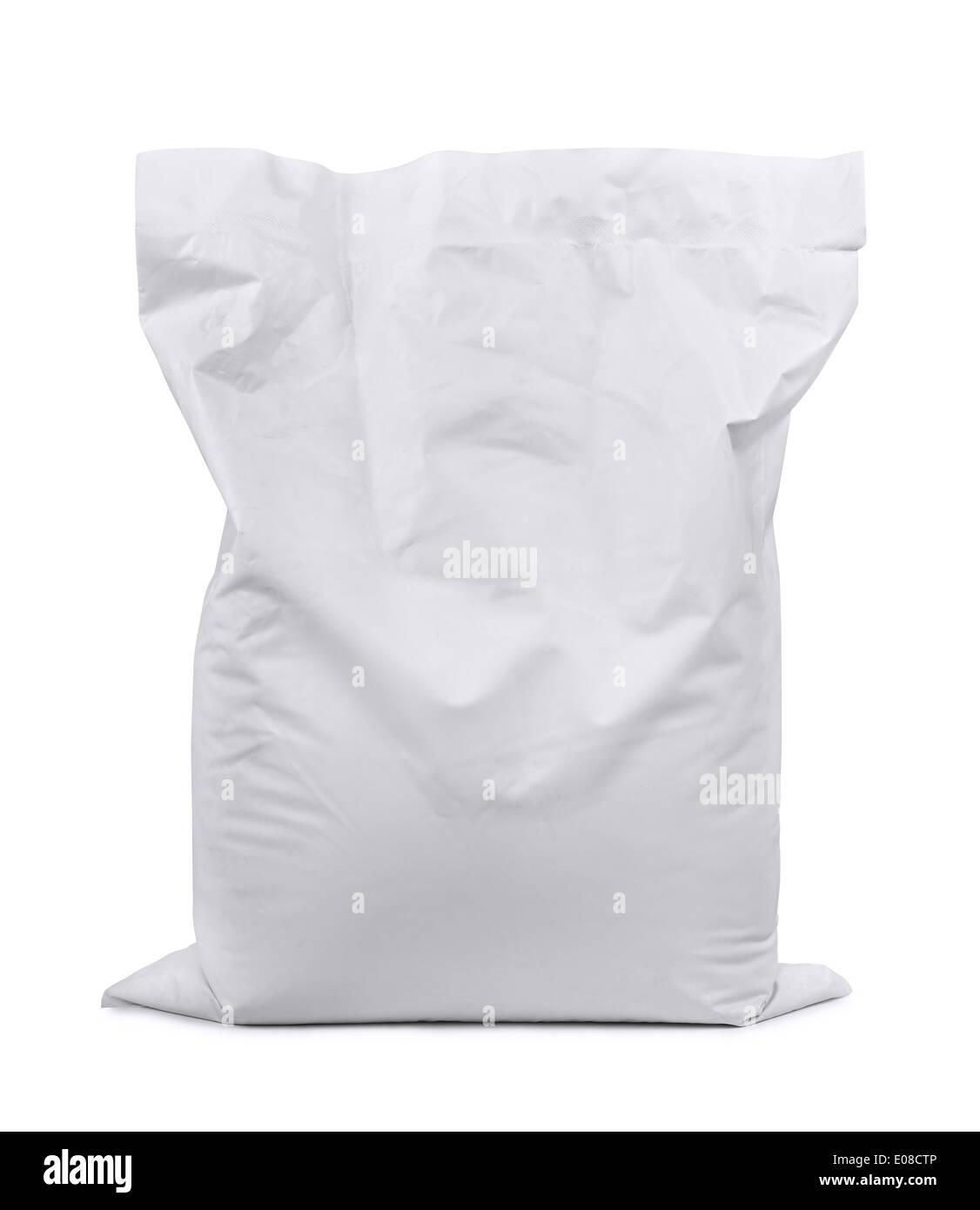 White plastic sack isolated on white - Stock Image