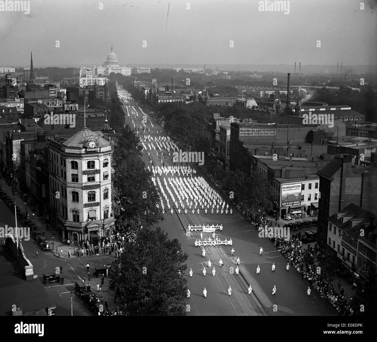 Ku Klux Klan march on Pennsylvania Avenue, Washington, D.C. - Stock Image