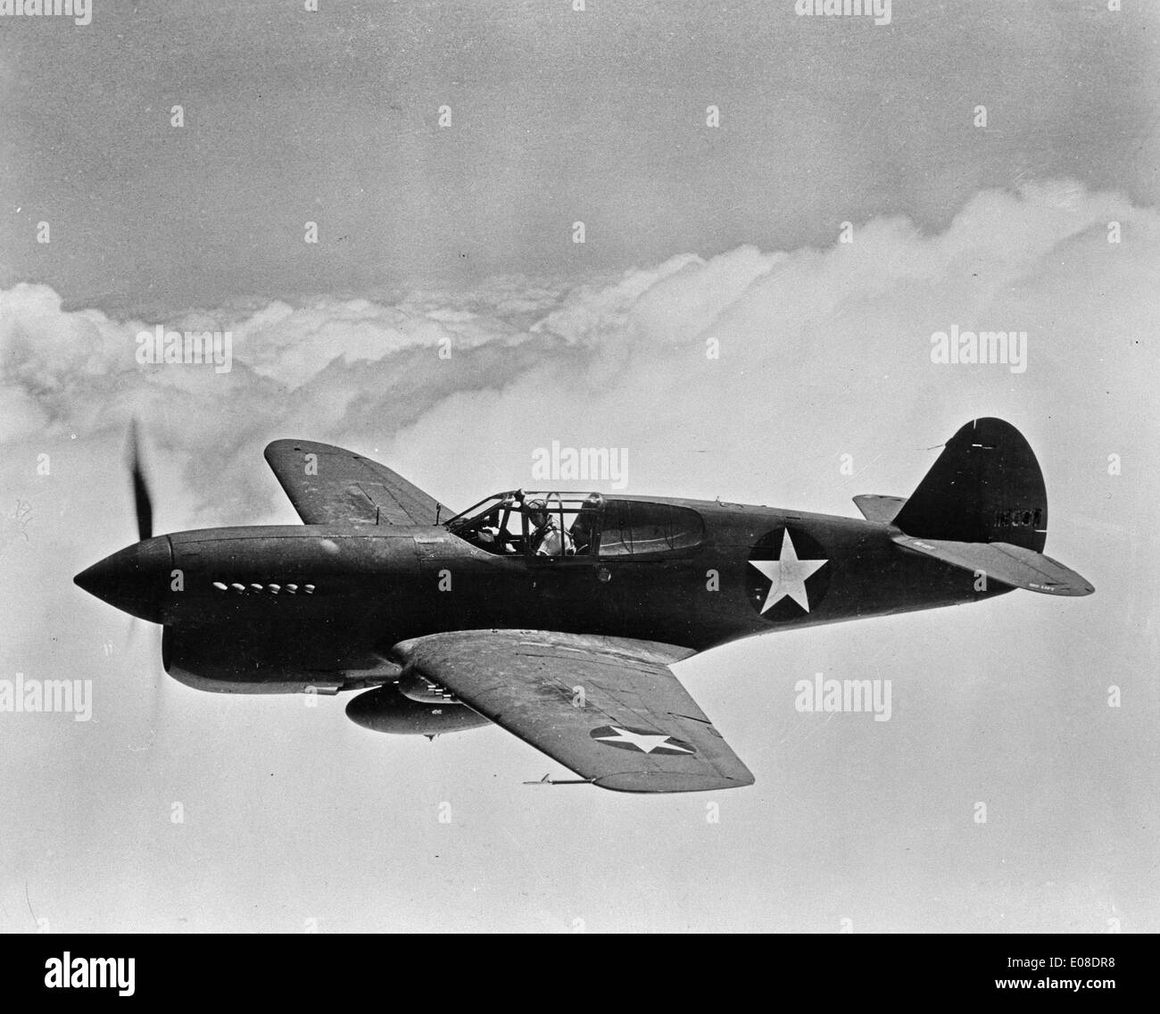 Curtiss P-40 Warhawk, American single-engined, single-seat, all-metal fighter and ground-attack aircraft - Stock Image