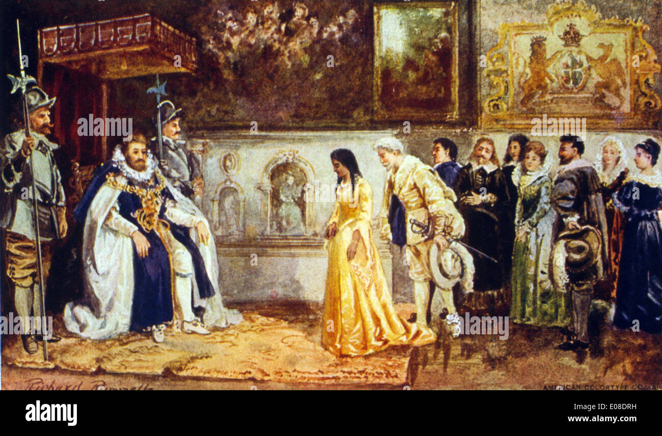 Pocahontas at the court of King James - Stock Image