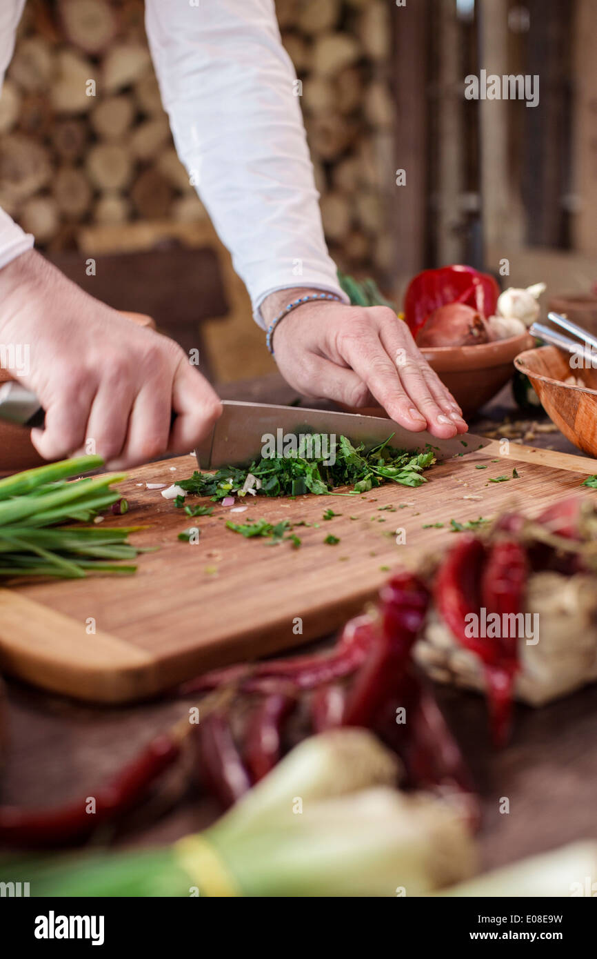 Unrecognizable person cutting parsley - Stock Image