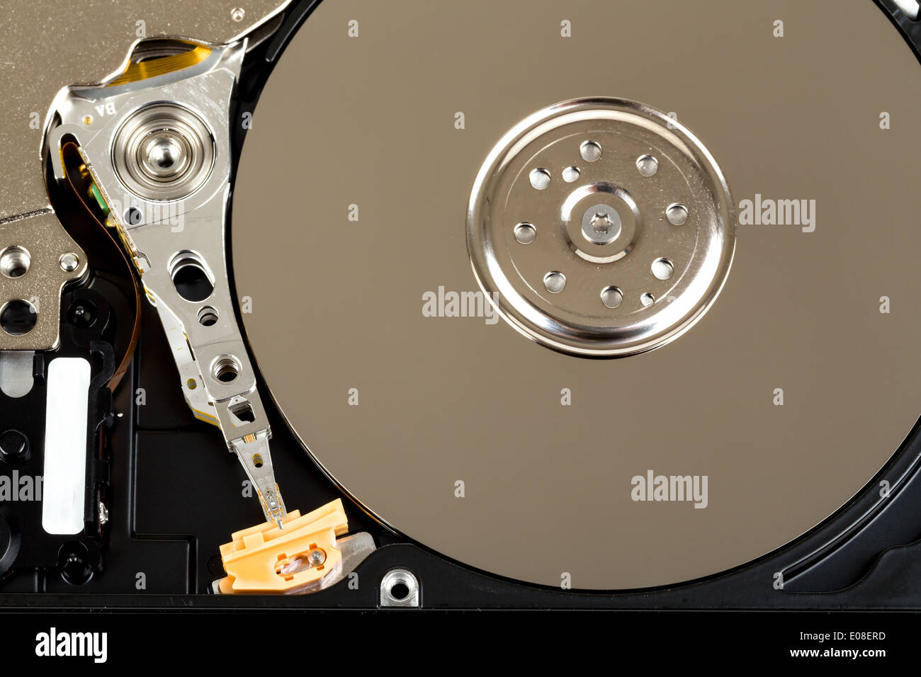 detail of uncovered 2 5 inch notebook hard drive stock photo