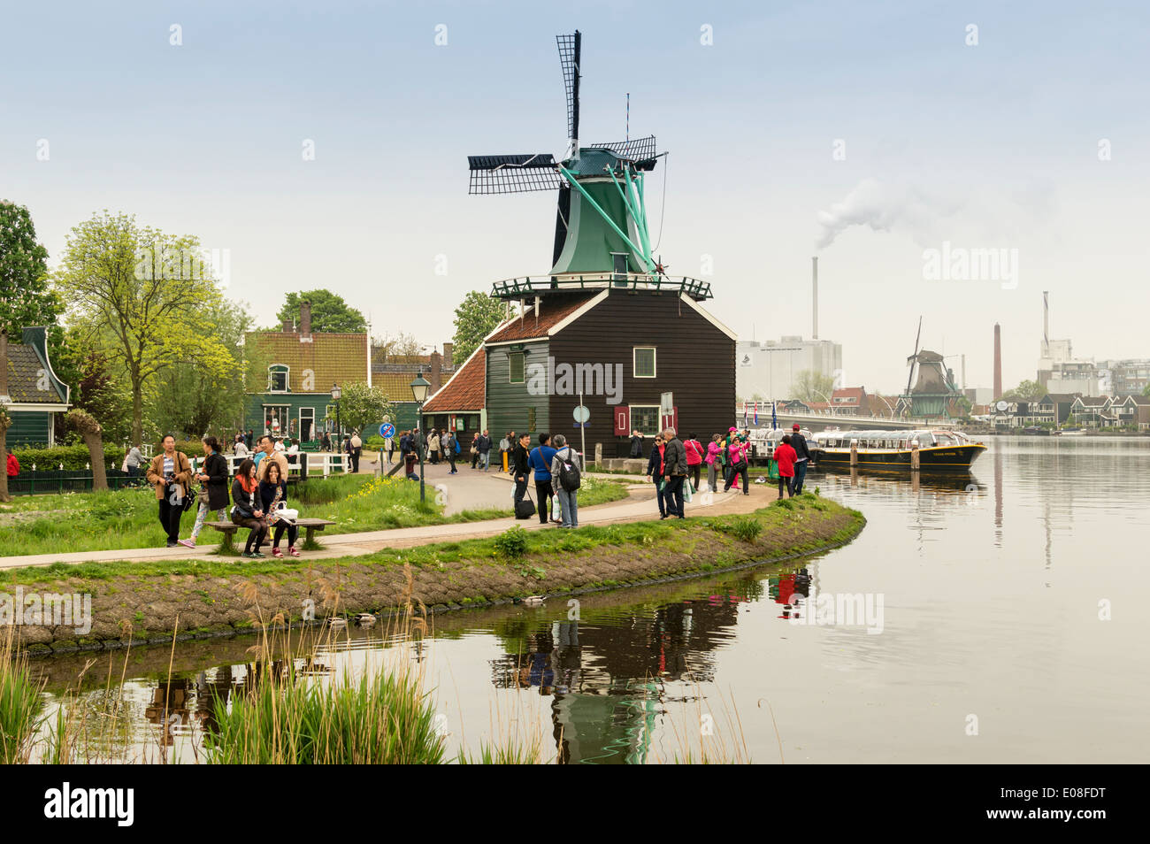 ZAANSE SCHANS IN SPRINGTIME WITH THE WINDMILLS AND TOURISTS HOLLAND - Stock Image