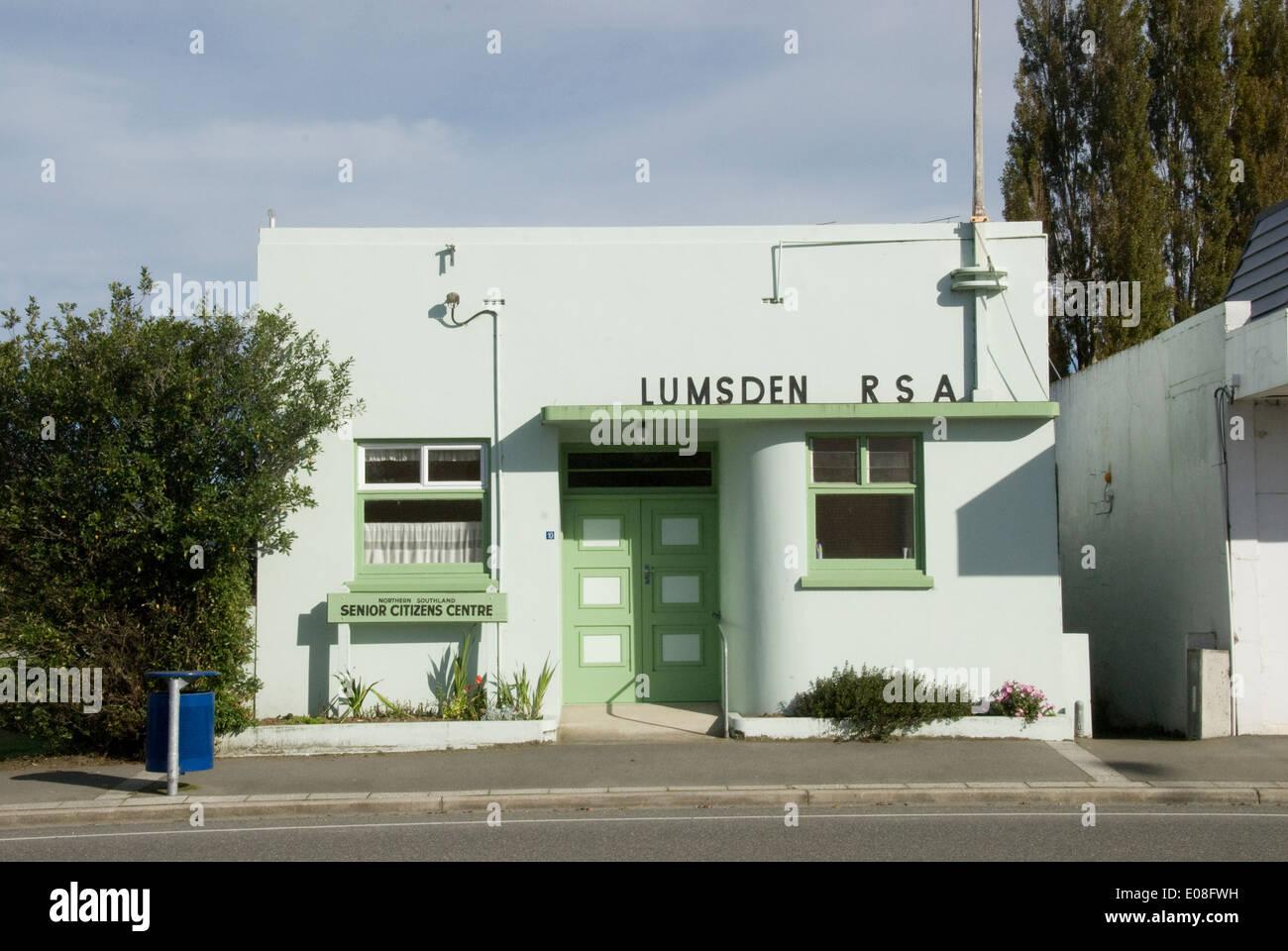 Returned Servicemans Association building, Lumsdon, Southland, New Zealand - Stock Image
