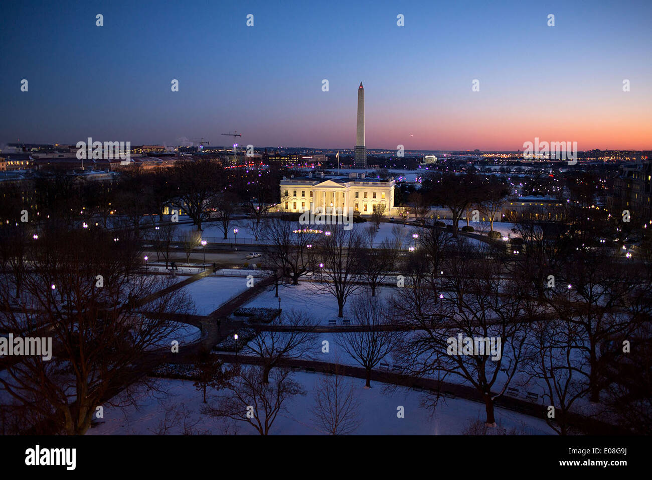Aerial View Of The White House Illuminated At Twilight January 22