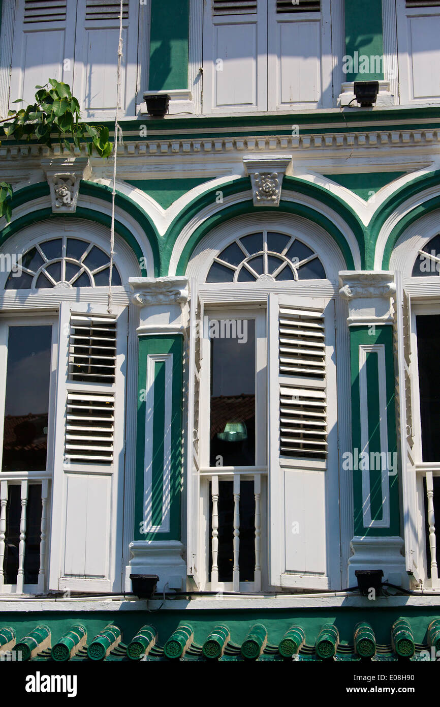 Colonial Style Building on Amoy Street, Singapore. - Stock Image