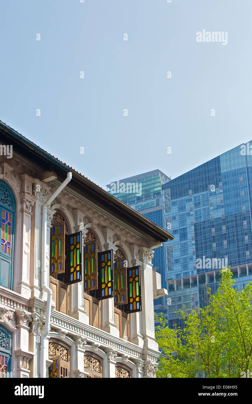 Colonial and Contemporary style Buildings on Amoy Street, Singapore. - Stock Image