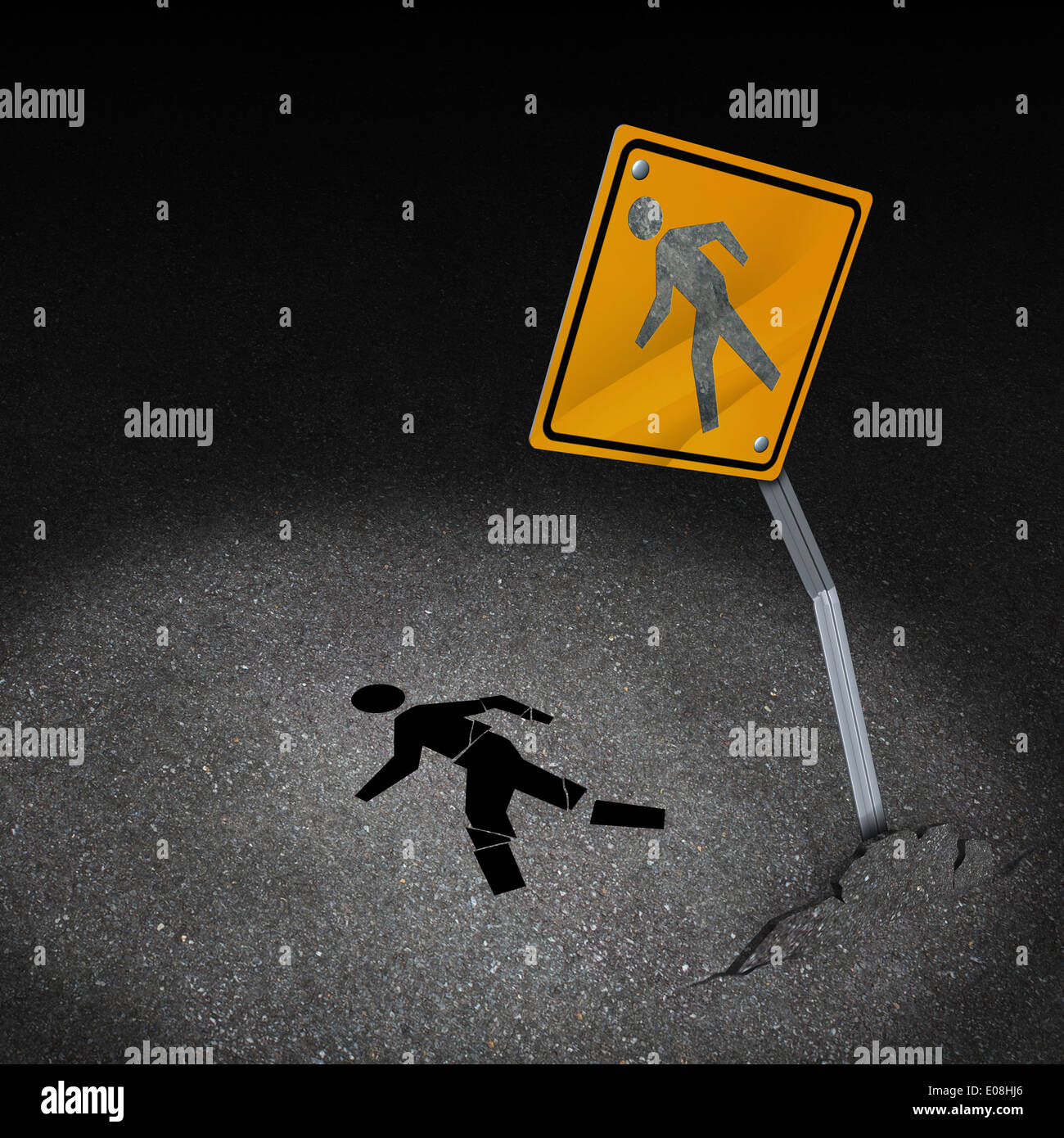 Traffic accident injury concept as a damaged road sign with a person ...