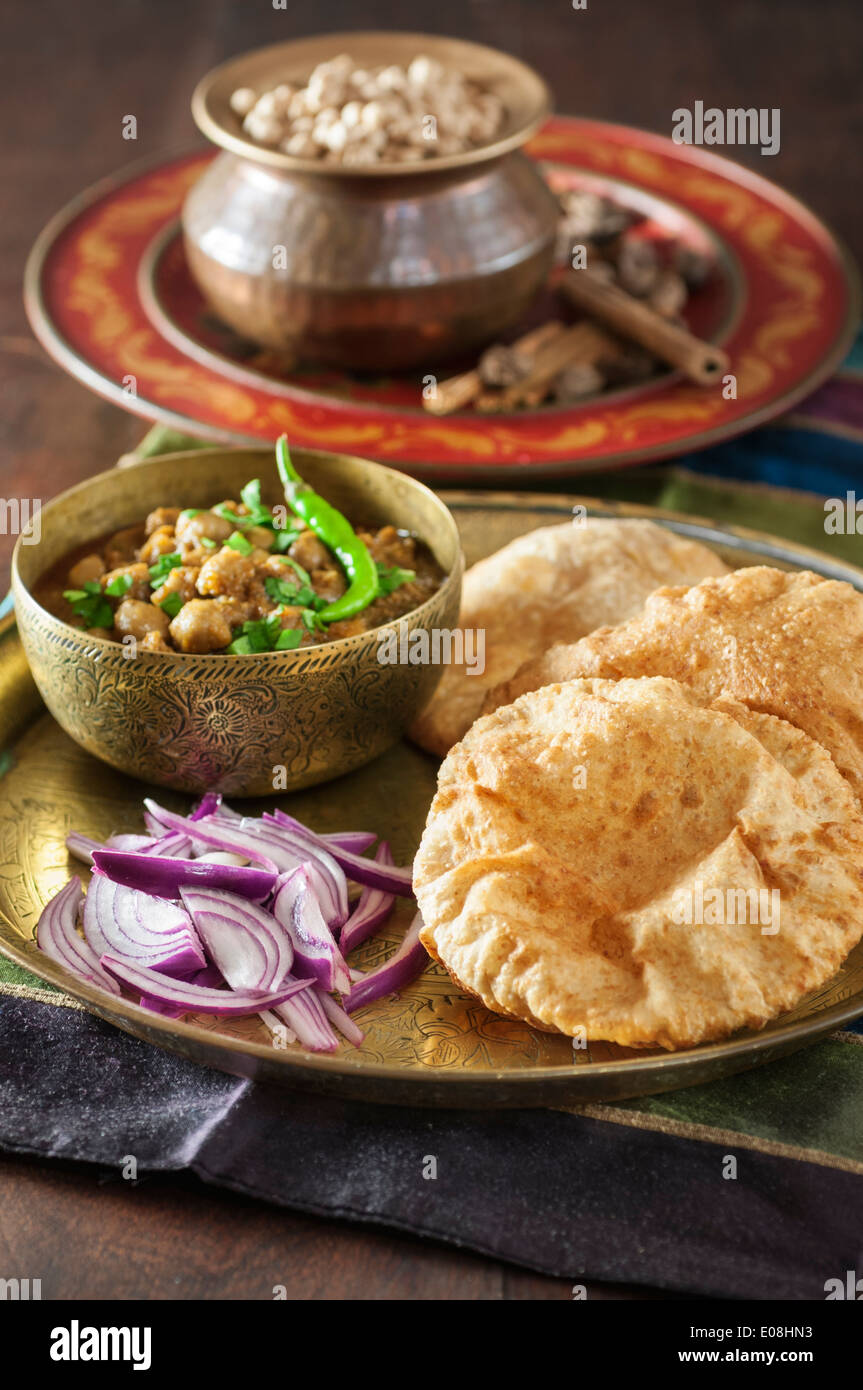 Chole bhature. Chickpea curry with fried breads. Punjabi breakfast dish. India Food - Stock Image