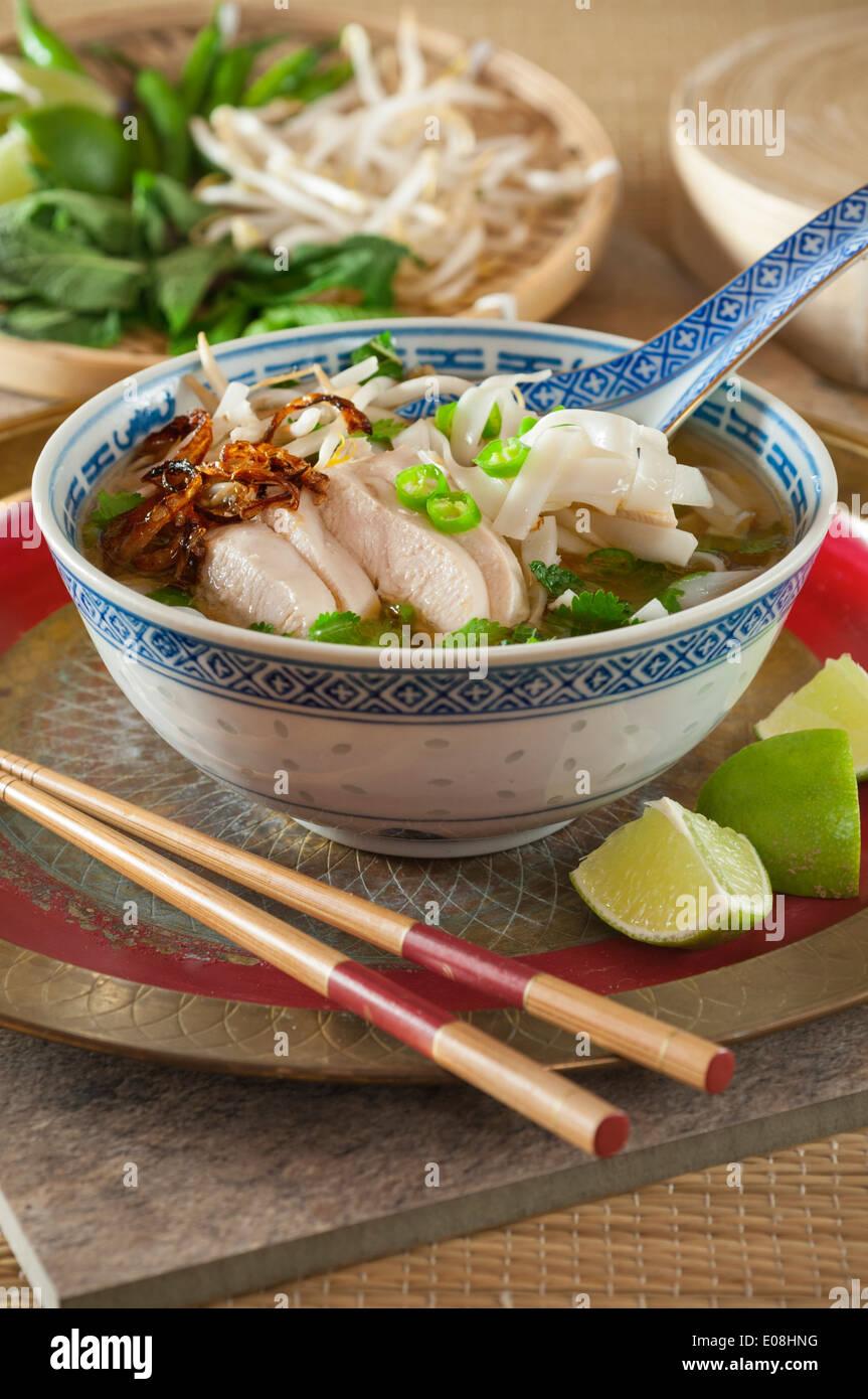 Pho Ga. Chicken noodle soup Vietnam Food - Stock Image