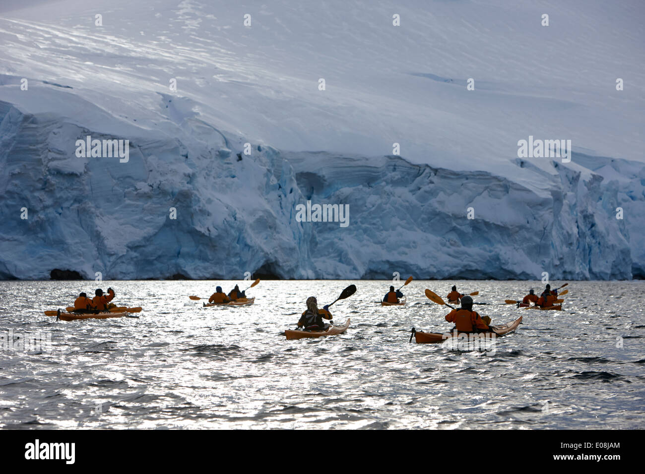group of sea kayakers in port lockroy antarctica - Stock Image