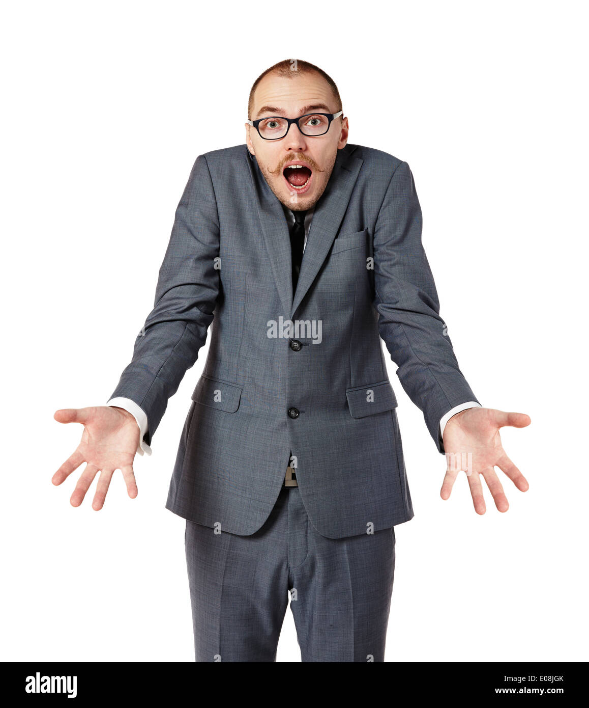 Young man shrugging his shoulders. Man gesturing with hands. Isolated on white. - Stock Image
