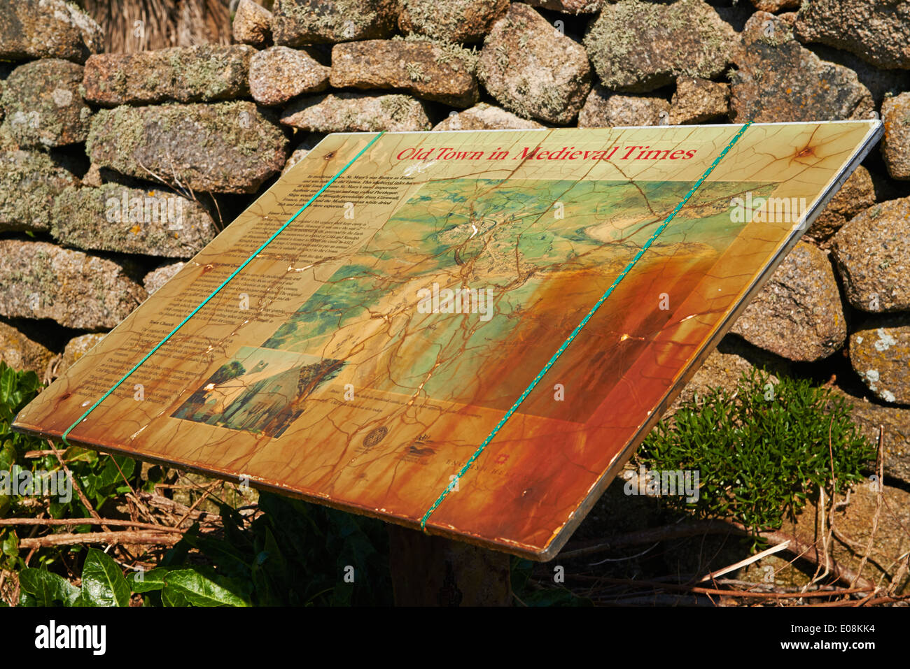 Old Town in medieval times sign at Old Town, St Marys, Isles of Scilly, Scillies, Cornwall in April - Stock Image
