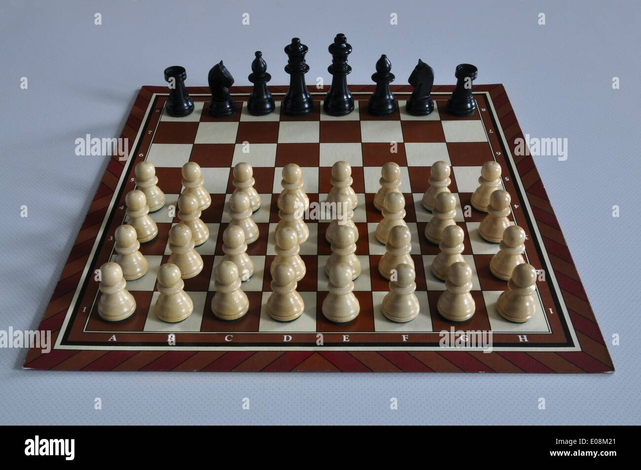 Illustration - Chess pieces stand on a chessboard in Germany, 16 January 2013. Many white pawns face a black king, Stock Photo