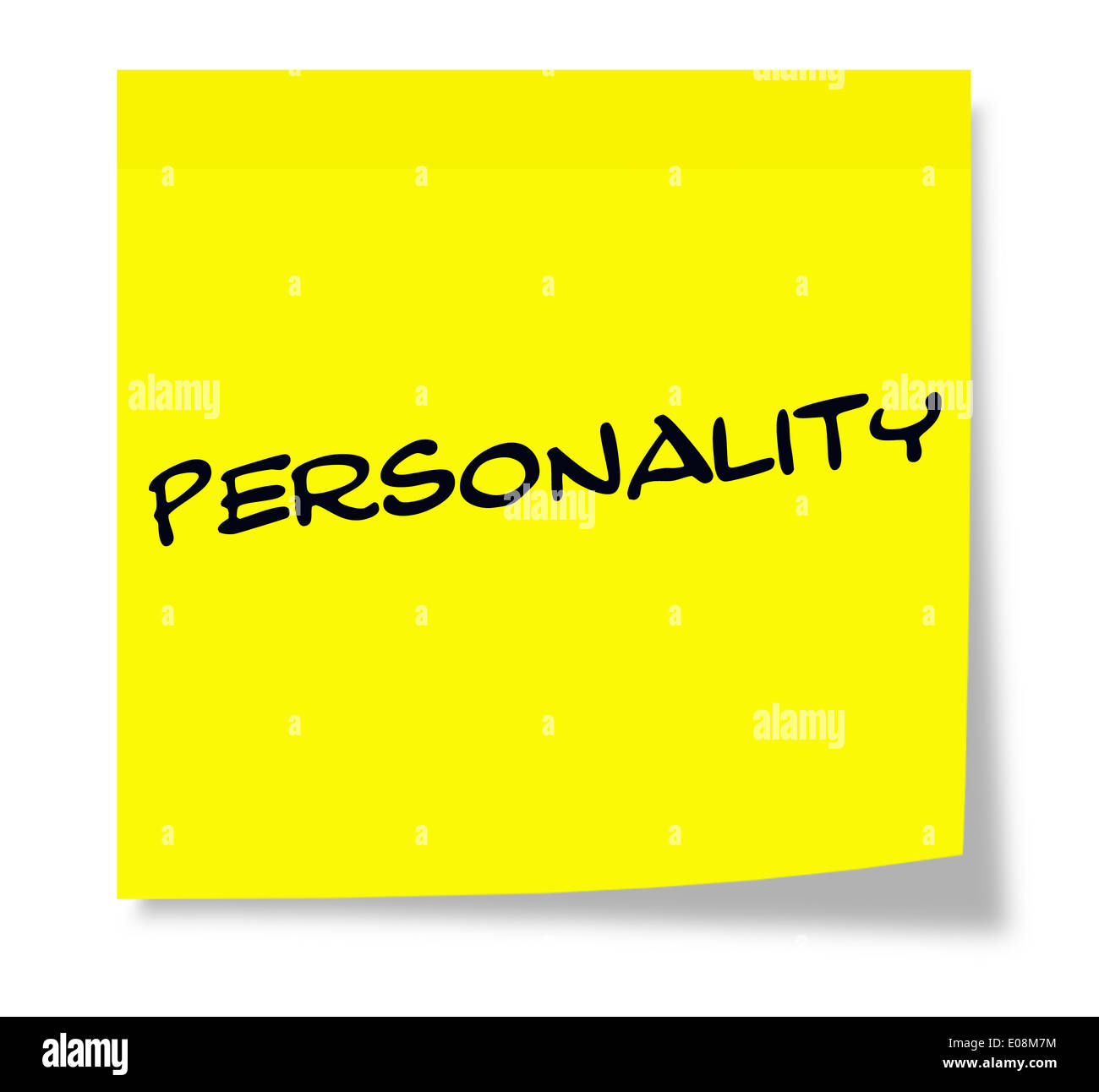 Personality written on a yellow paper Sticky Note making a great concept. - Stock Image