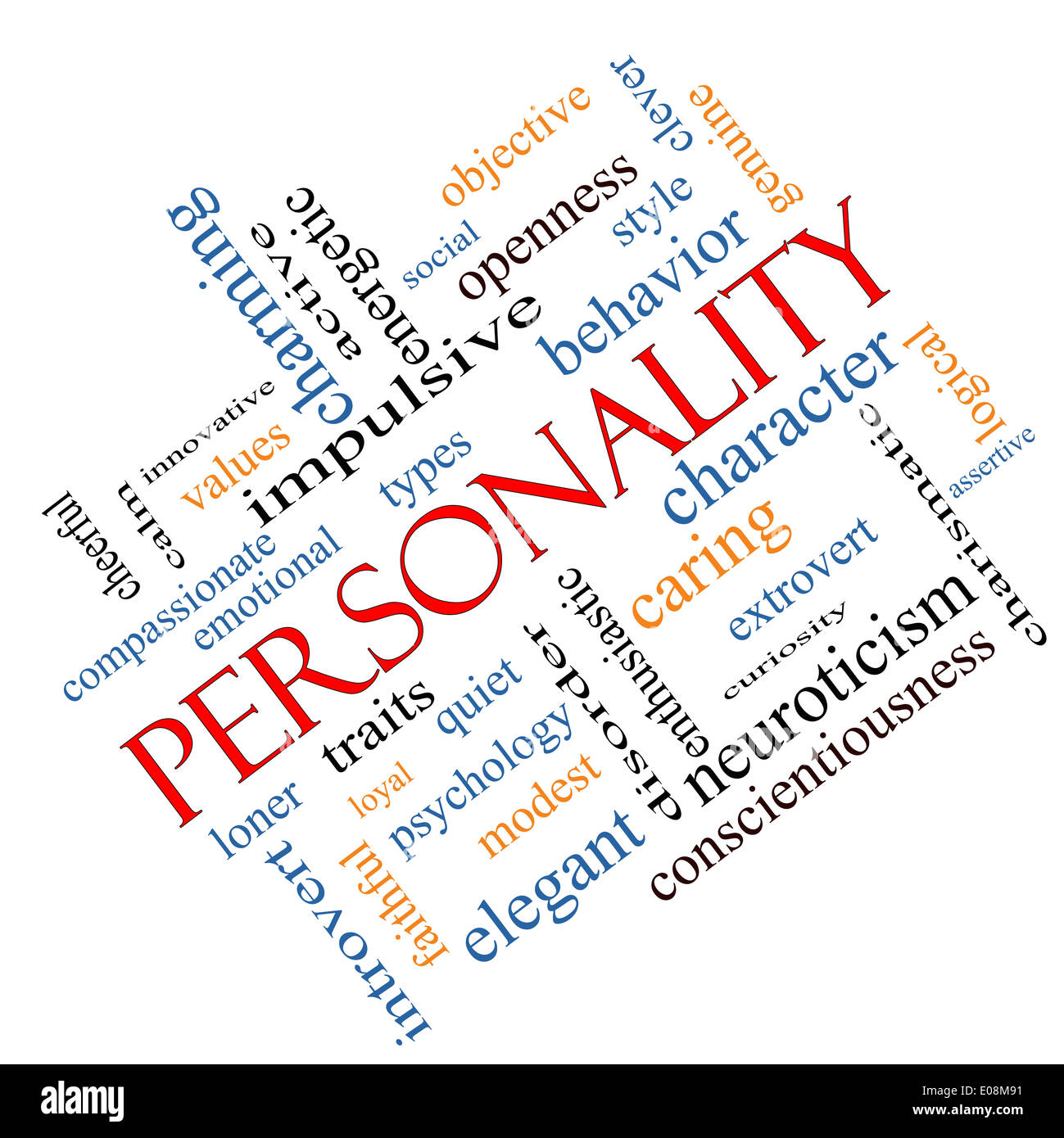 Personality Word Cloud Concept angled with great terms such as cheerful, character, behavior and more. - Stock Image