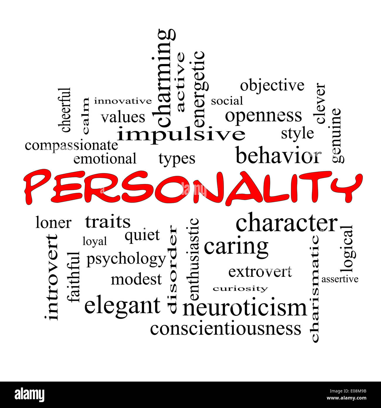 Personality Word Cloud Concept with great terms such as cheerful, character, behavior and more. - Stock Image