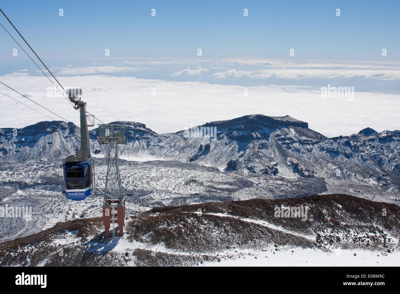 Cable car to Pico de Teide, Parque Nacional del Teide, Spain, Tenerife - Stock Image