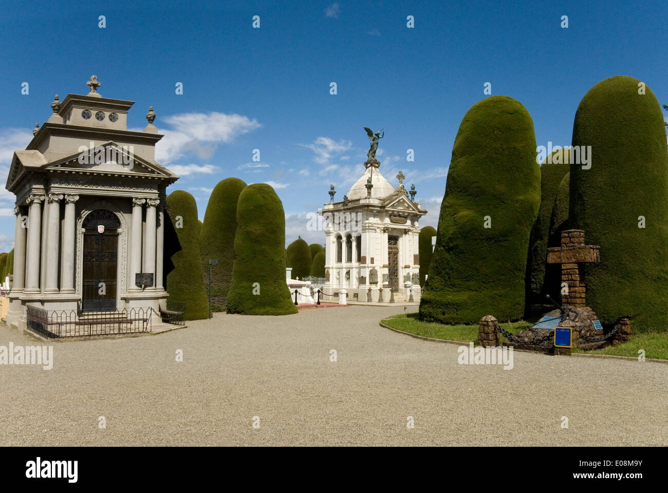 Cementario Municipal, topiary cypress trees, Punta Arenas, Patagonia, Chile, South America - Stock Image