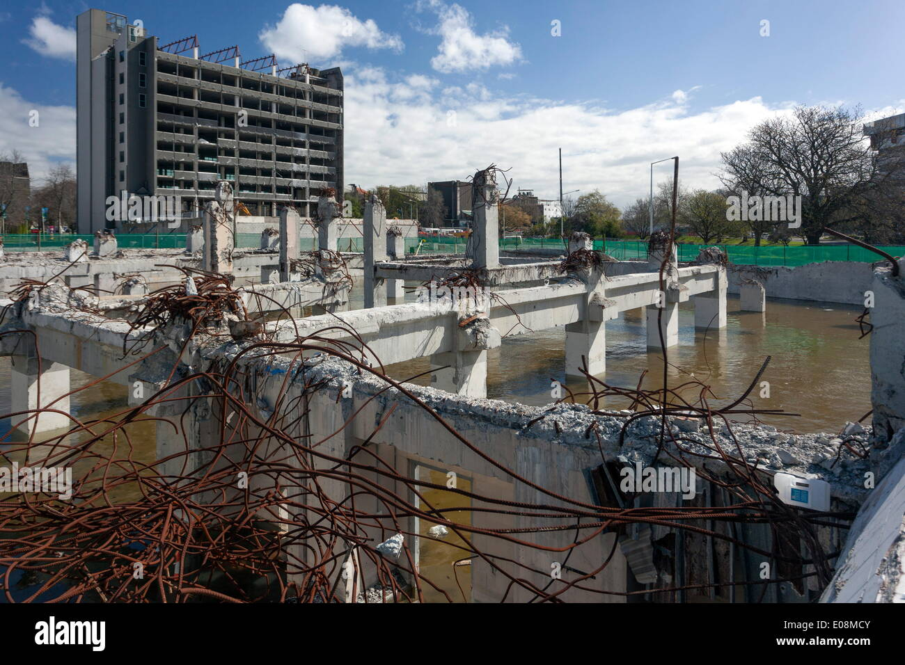 Ruined buildings following earthquakes, Christchurch, Canterbury, South Island, New Zealand, Pacific - Stock Image