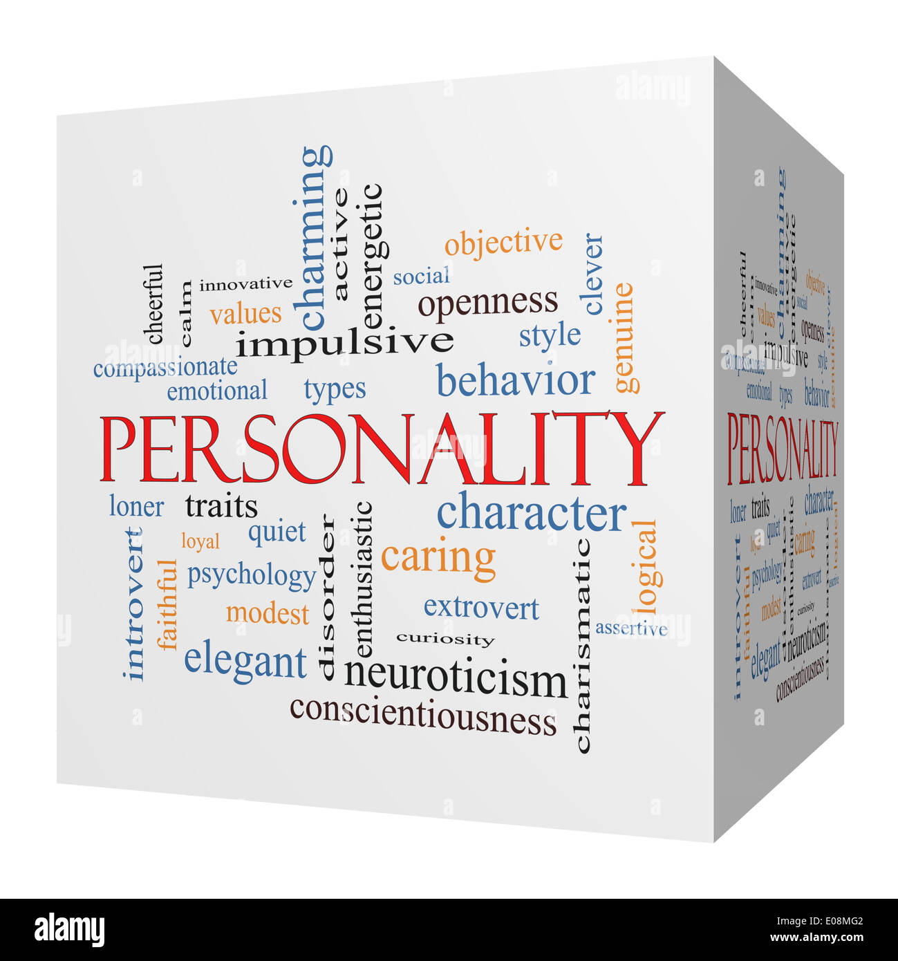 Personality 3D cube Word Cloud Concept with great terms such as cheerful, character, behavior and more. - Stock Image
