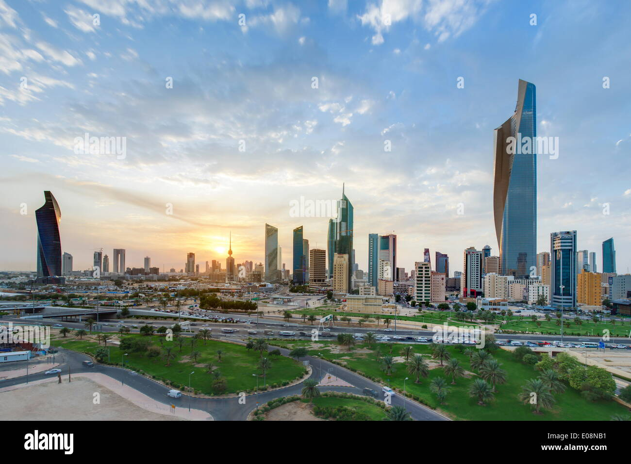 Elevated view of the modern city skyline and central business district, Kuwait City, Kuwait, Middle East - Stock Image