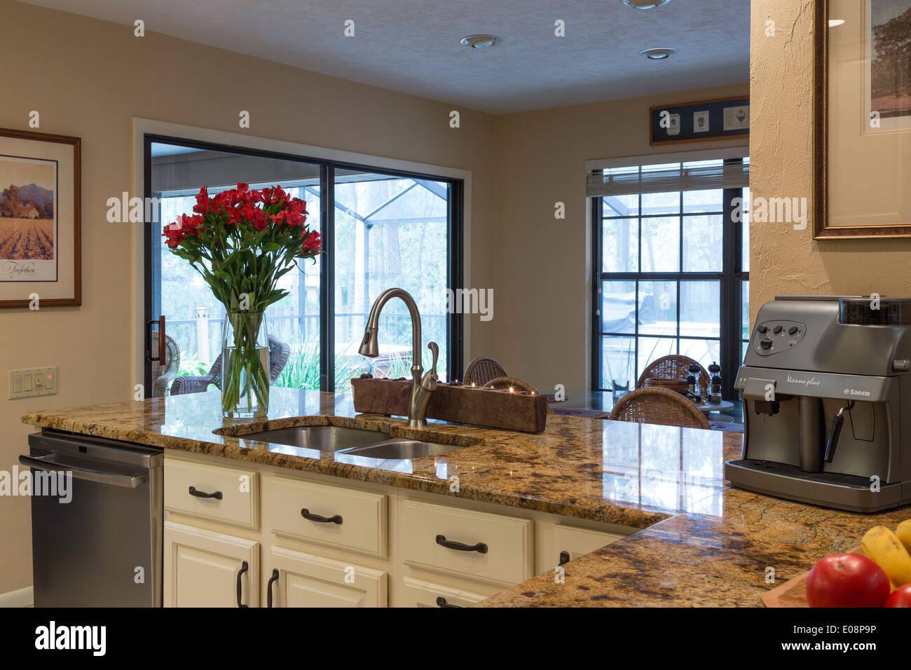 Showcase Modern Kitchen With Pass Through Raised Dining Bar, USA