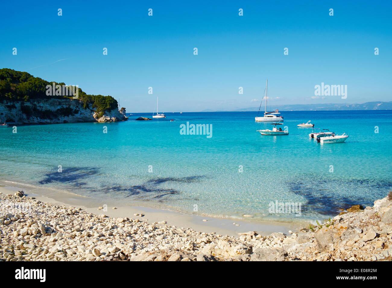 Voutoumi beach, Antipaxos, Antipaxi, Ionian Islands, Greek Islands, Greece, Europe - Stock Image