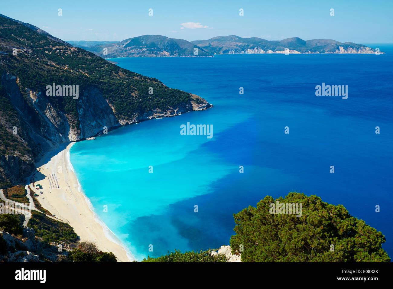 Myrtos Beach, Cephalonia, Ionian Islands, Greek Islands, Greece, Europe - Stock Image