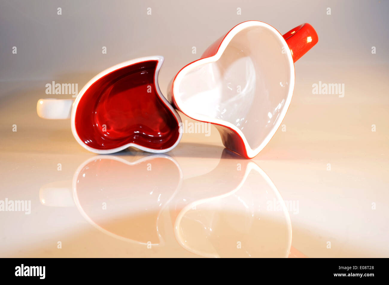 Unique cups Happy Valentine's Day. Love is everywhere - Stock Image
