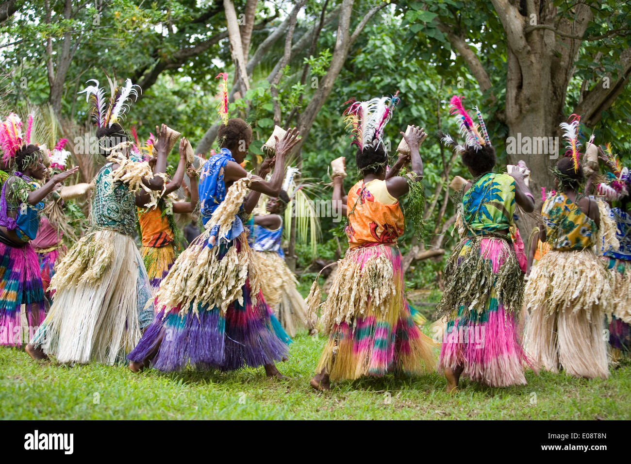 Colorful dance group, Tanna, Vanuatu, South Pacific - Stock Image
