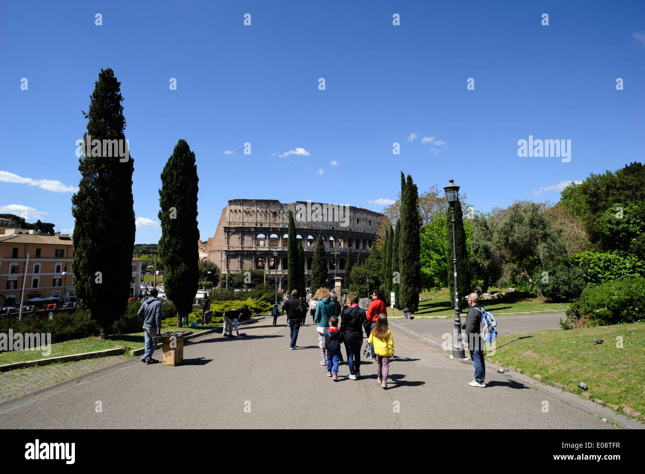 italy, rome, colle oppio (oppian hill) and colosseum - Stock Image