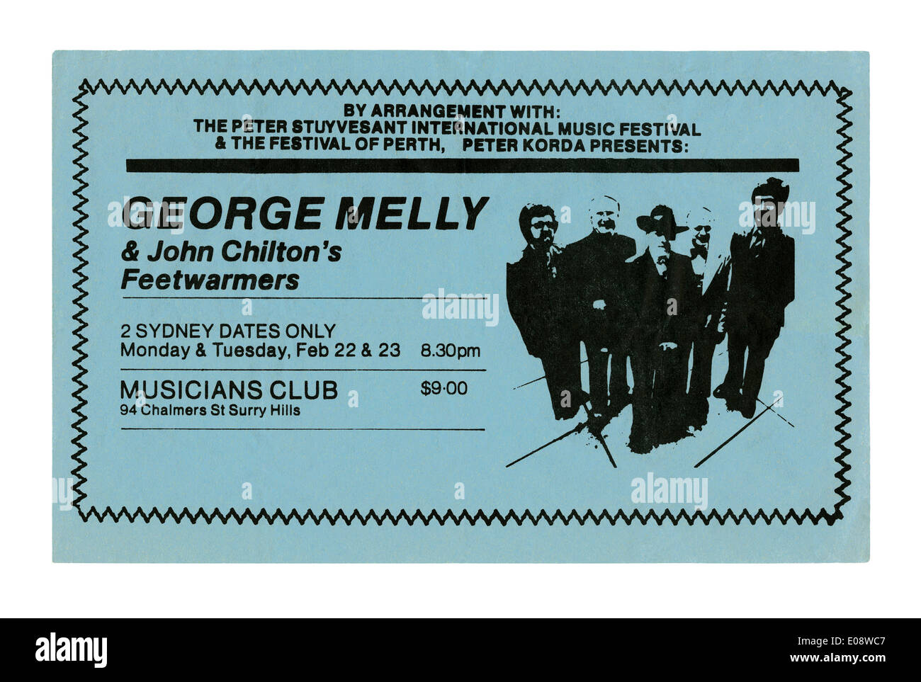 Handbill for a concert in Sydney, Australia, 1982 by British jazz and blues band George Melly and John Chilton's Feetwarmers - Stock Image