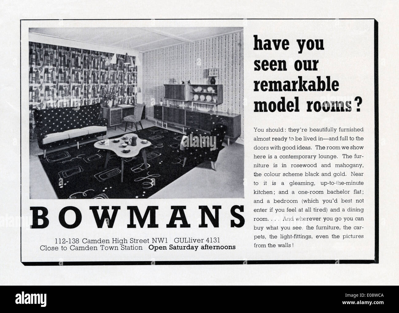 Old advert for Bowmans furniture - chairs, tables, desks and sideboards at their showroom, Camden High Street, London in 1956 - Stock Image