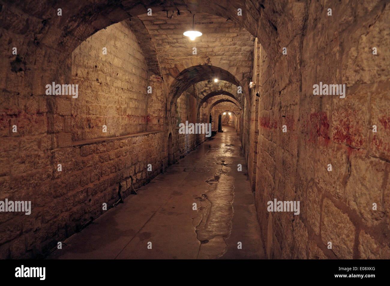 Long damp corridor inside Fort de Vaux, Verdun, Lorraine, France. - Stock Image