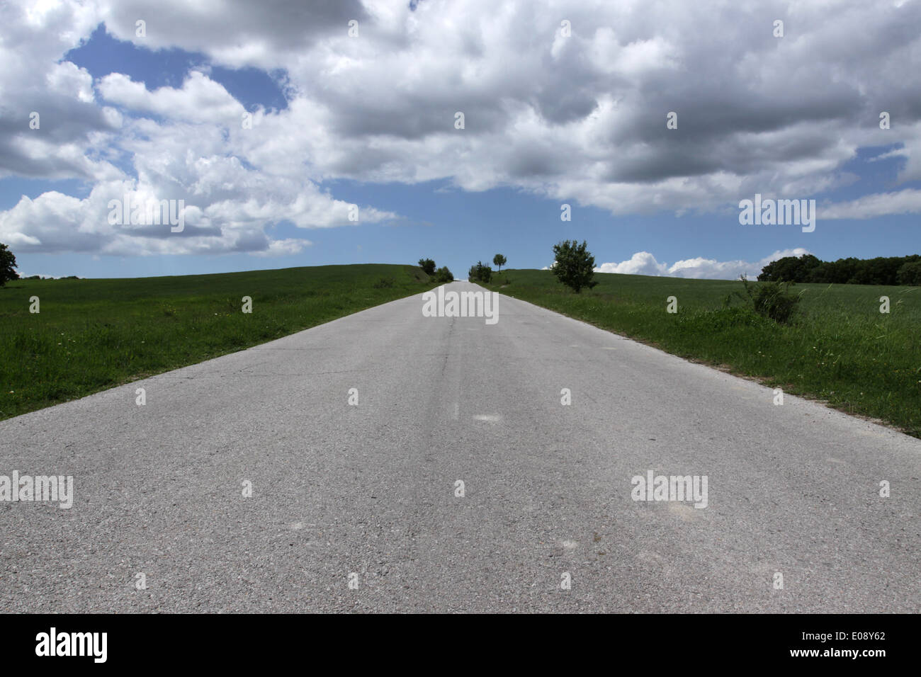 Beautiful sunny road in the morning, Bulgaria - Stock Image