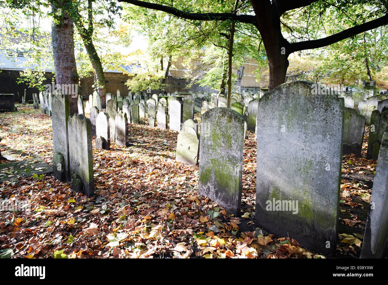 Gravestones at Bunhill Fields cemetery, London, UK - Stock Image