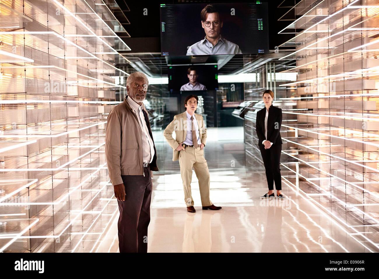 TRANSCENDENCE (2014) MORGAN FREEMAN CILLIAN MURPHY JOHNNY DEPP REBECCA HALL WALLY PFISTER (DIR) MOVIESTORE COLLECTION LTD - Stock Image