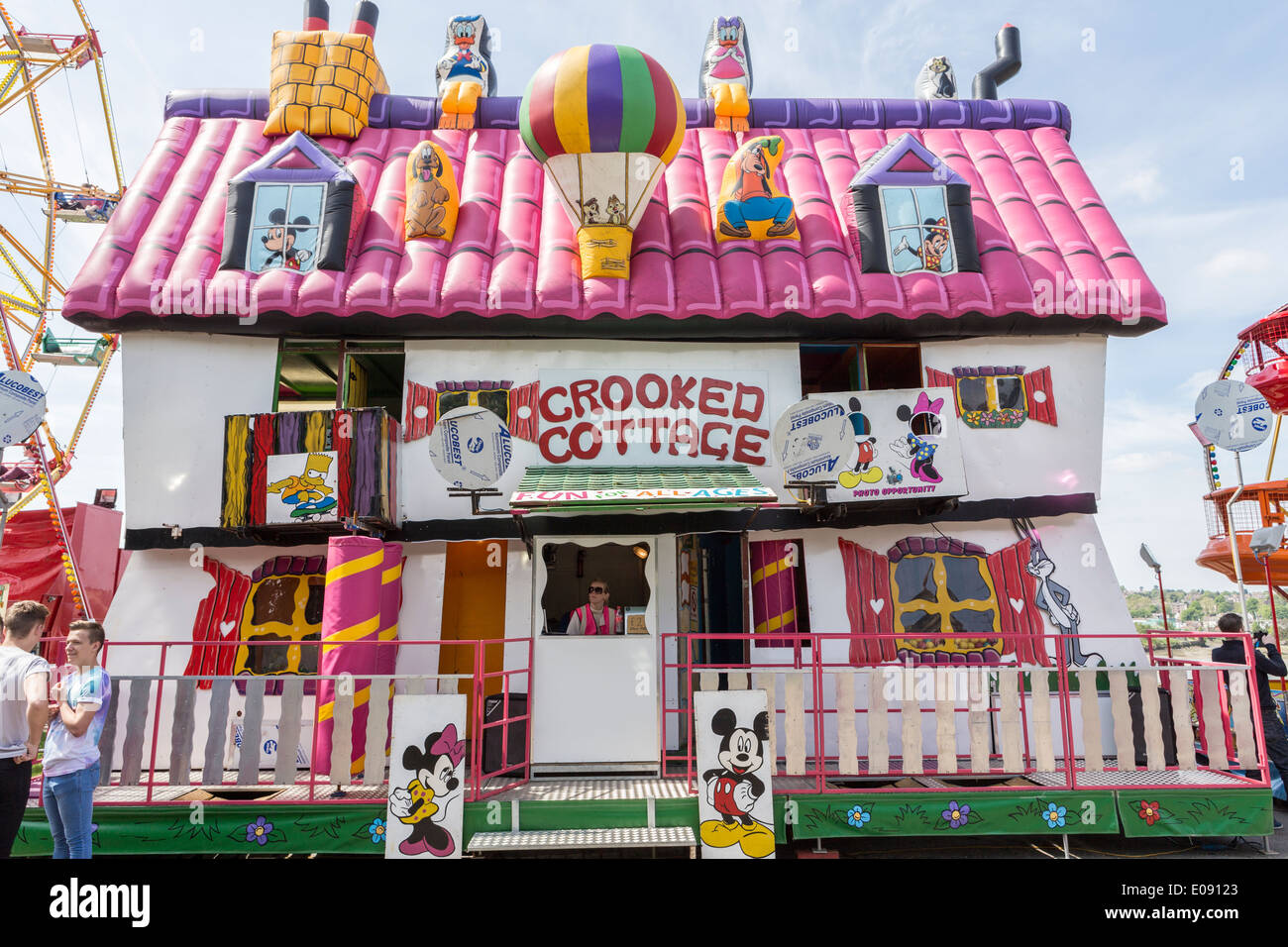 Crooked Cottage Attraction at Funfair - Stock Image