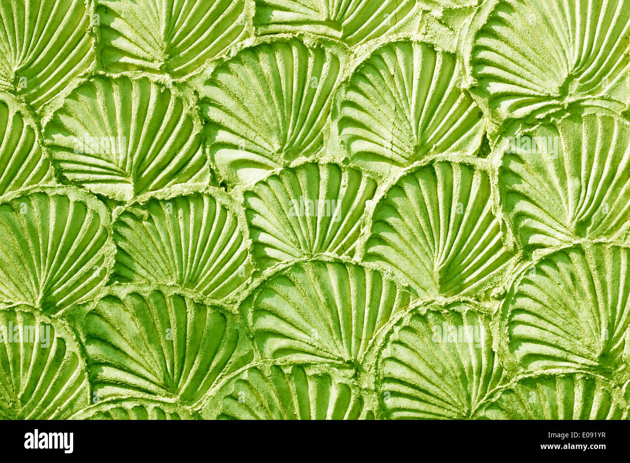 green mortar wall texture background aesthetic. - Stock Image