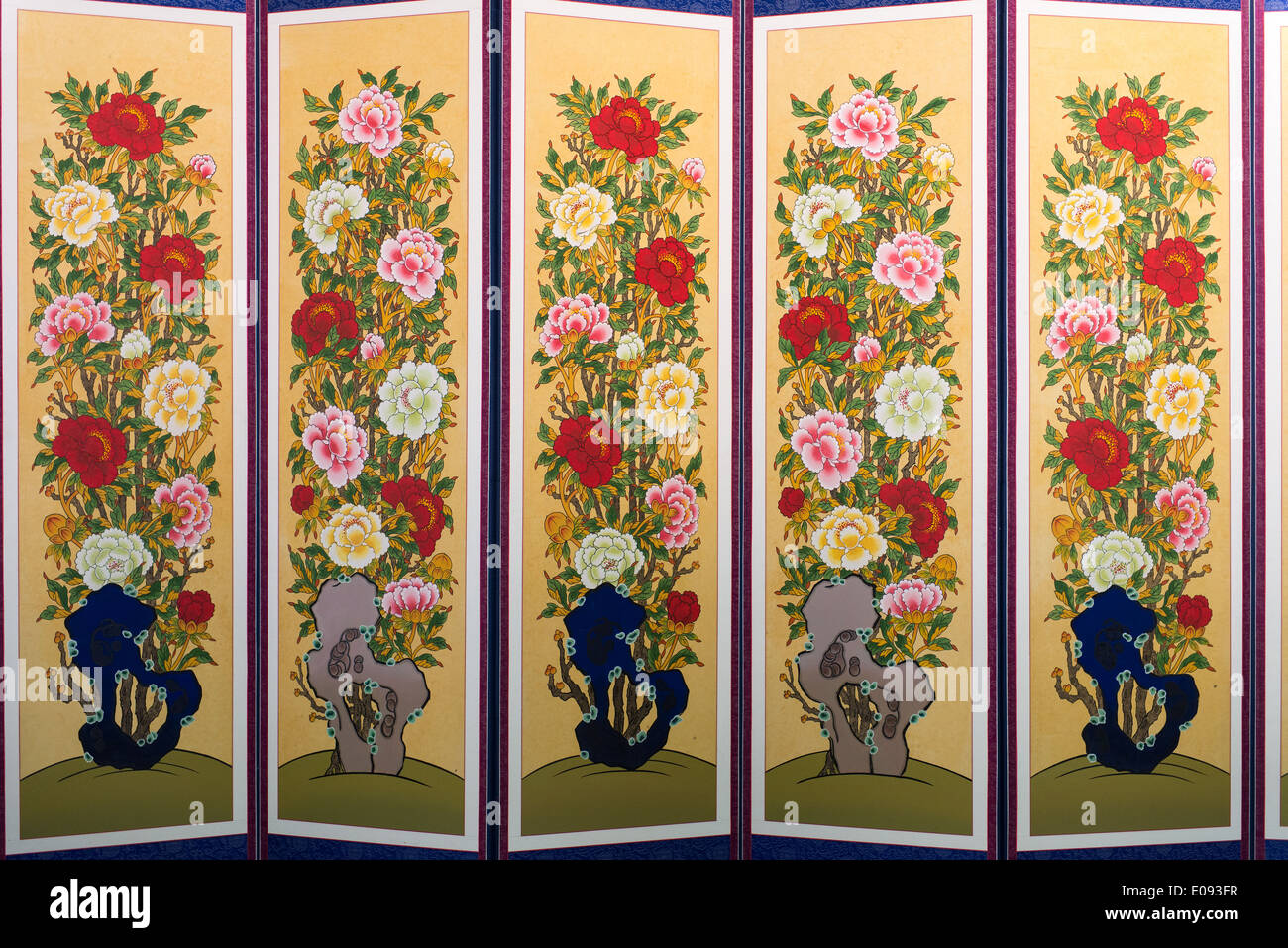 South korean room divider or screen with painted flowers - Stock Image