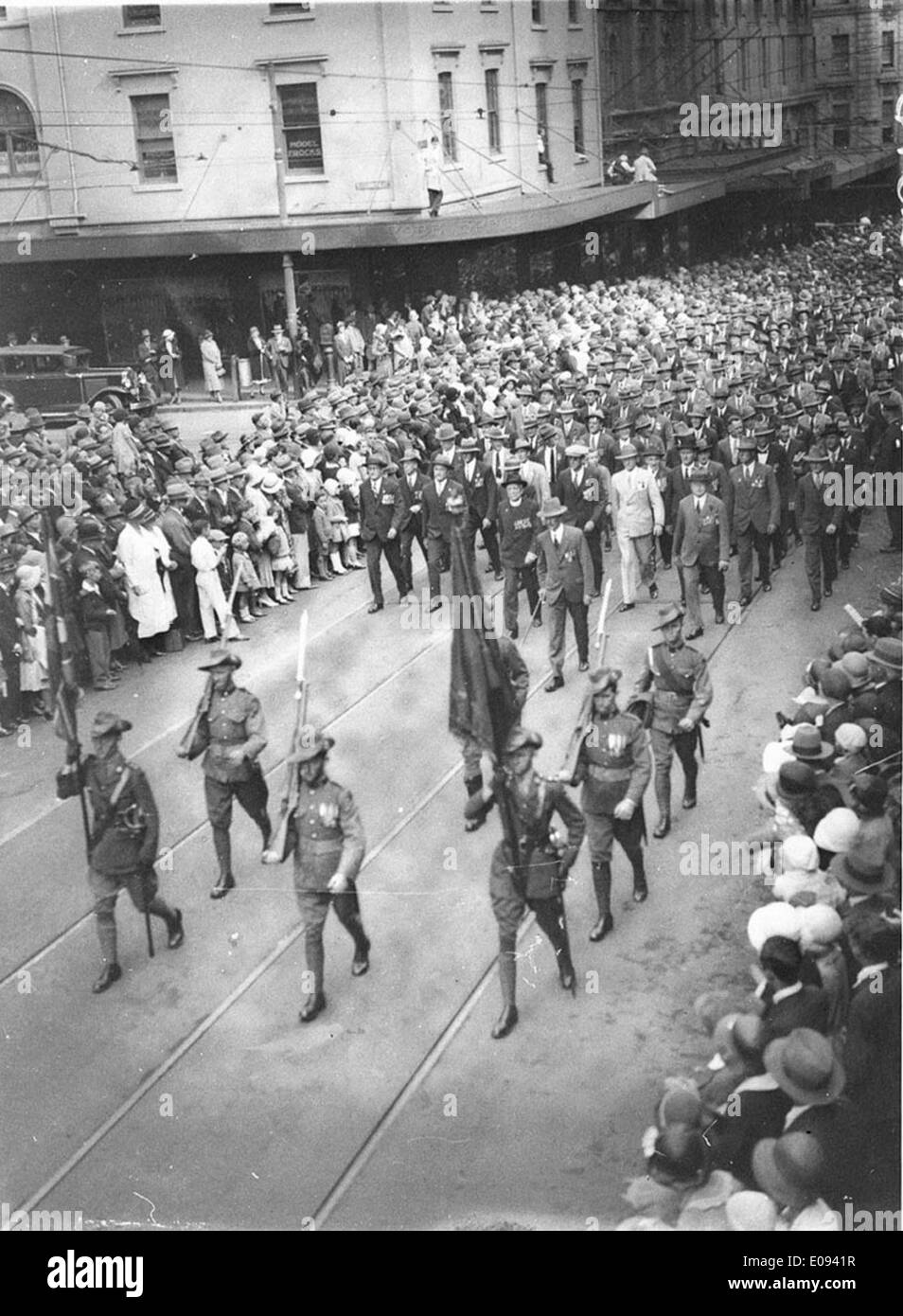 Marching up King Street, c.1931, by Sam Hood Stock Photo